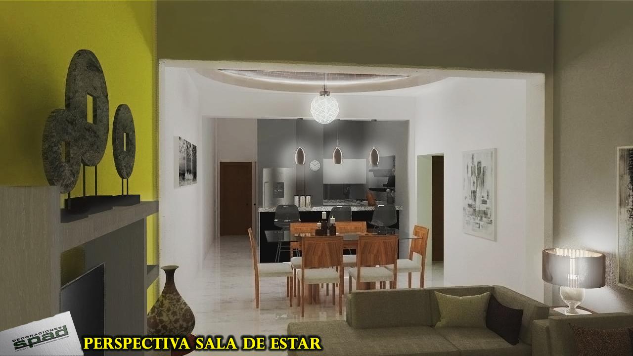 Proyectos SPAD Constructora, Proyecto Aurora, Sala y comedor, Diseño de Interiores, Render 3D Arquitectura, Puerto Vallarta, Jalisco, México