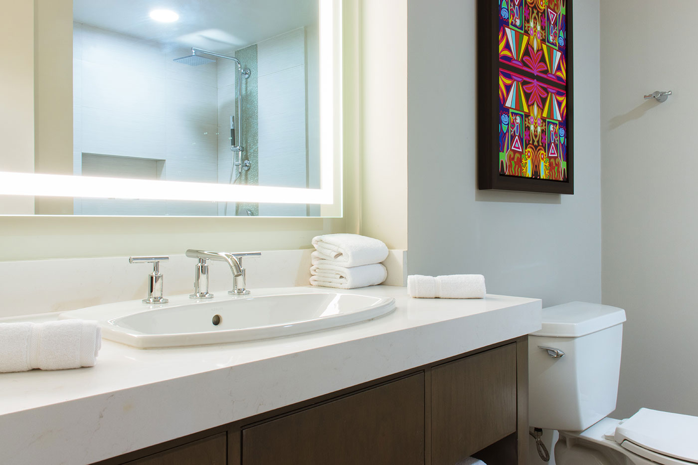 Proyectos SPAD Constructora, Remodelación de habitaciones Westin, Baño lavamanos decoración, Diseño de Interiores, Arquitectura, Puerto Vallarta, Jalisco, México