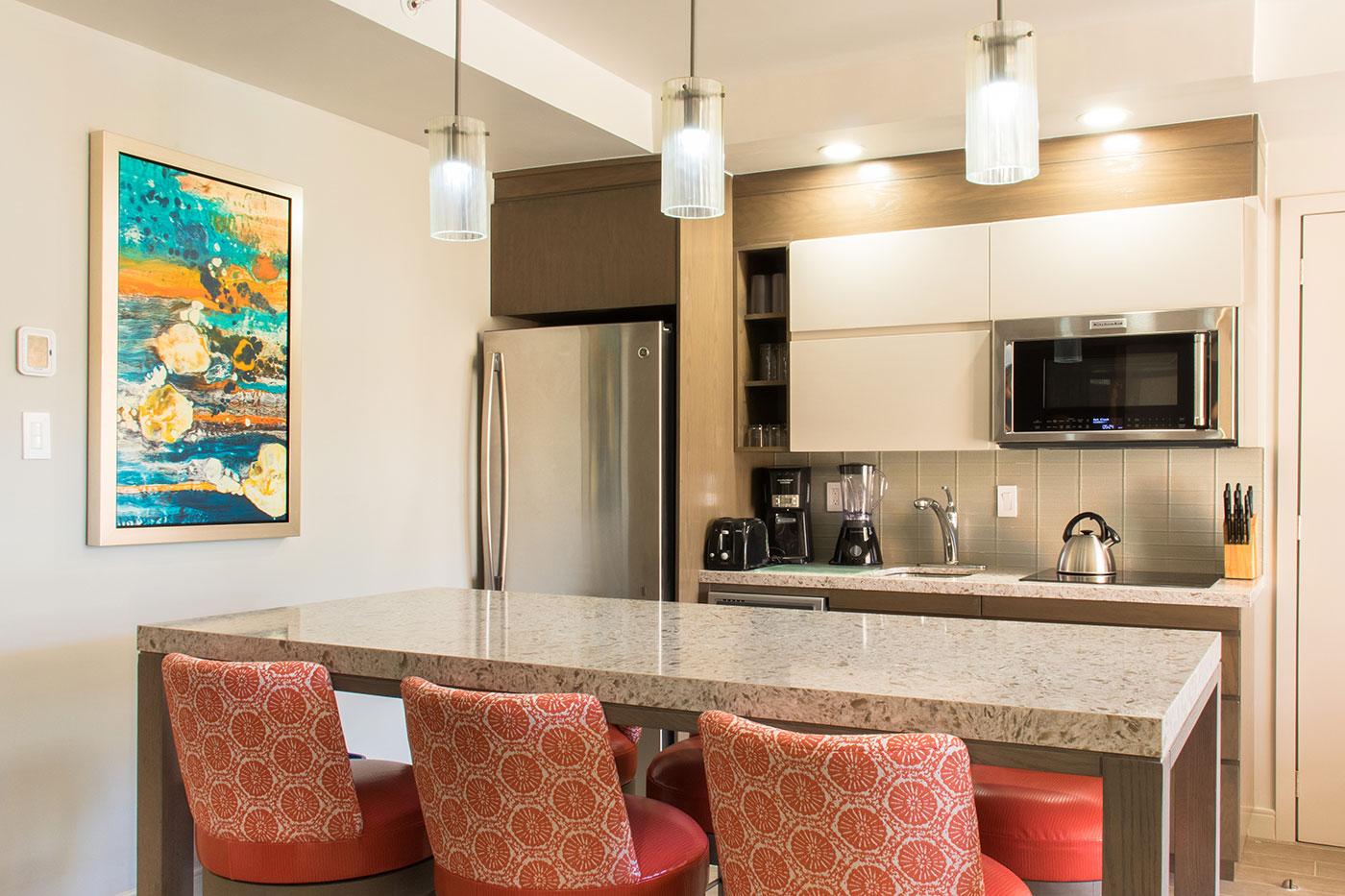 Proyectos SPAD Constructora, Remodelación de habitaciones Westin, Barra y cocina decoración, Diseño de Interiores, Arquitectura, Puerto Vallarta, Jalisco, México
