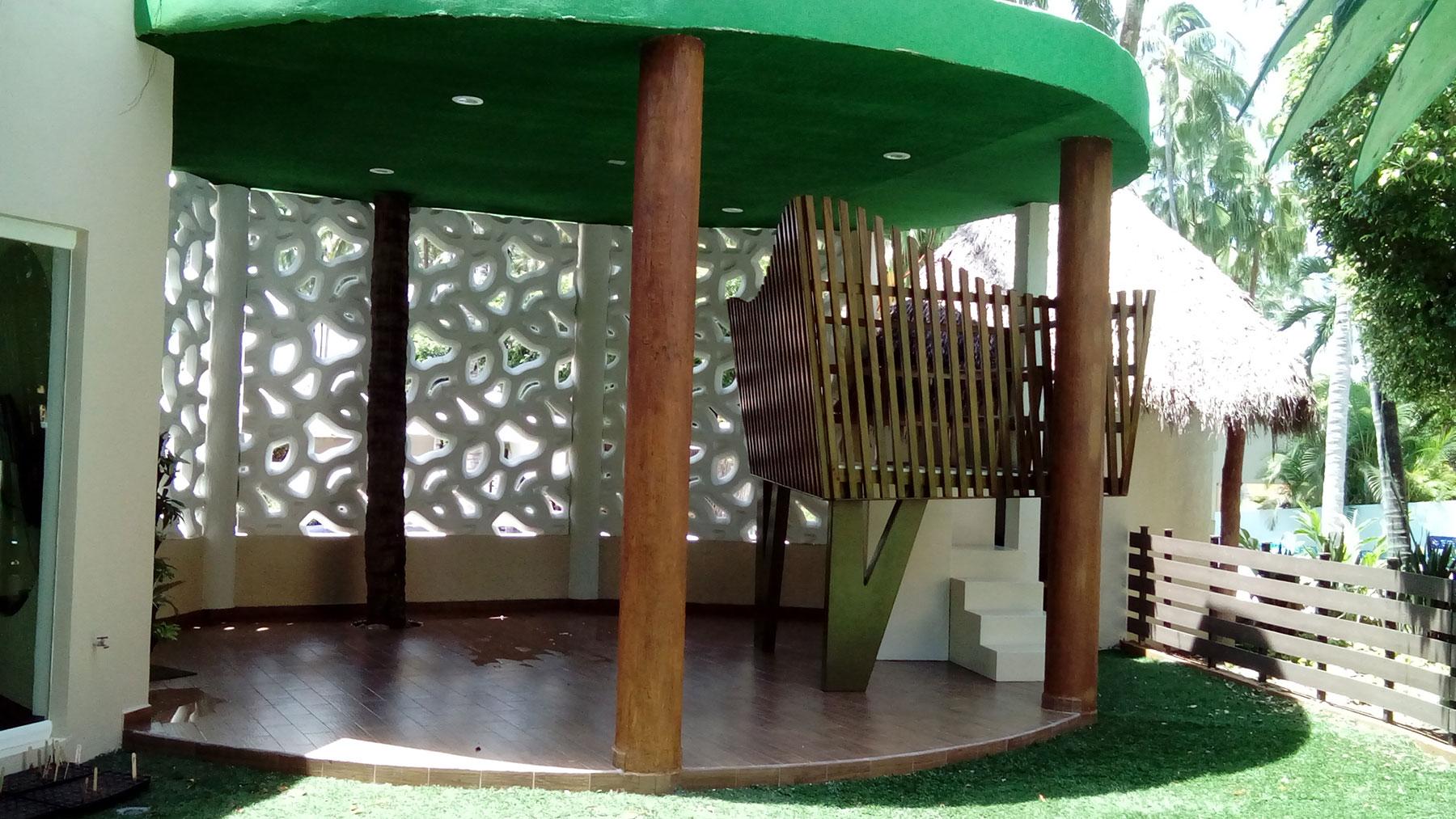 Proyectos SPAD Constructora, Westin Family Kids Club, Exterior jardín estructura de madera, Diseño de Interiores, Arquitectura, Puerto Vallarta, Jalisco, México